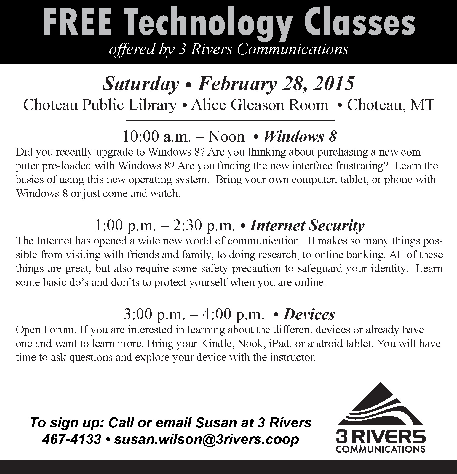 FREE Technology Classes Offered By 3 Rivers Communications
